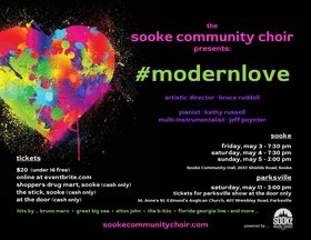 #modernlove with The Sooke Community Choir: Bruce Ruddell  (Artistic Director), Kathy Russell  (Collaborative Pianist), Jeff Poynter (multi-instrumentalist) @ Sooke Community Hall May 3 2019 - Apr 21st @ Sooke Community Hall