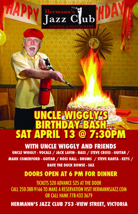 Uncle Wiggly's Birthday Bash @ Hermann's Jazz Club Apr 13 2019 - Oct 17th @ Hermann's Jazz Club