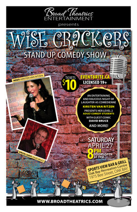 Wise Crackers! Comedy: Kirsten Van Ritzen, David Bruce @ Sports View Bar & Grill Apr 27 2019 - Apr 21st @ Sports View Bar & Grill