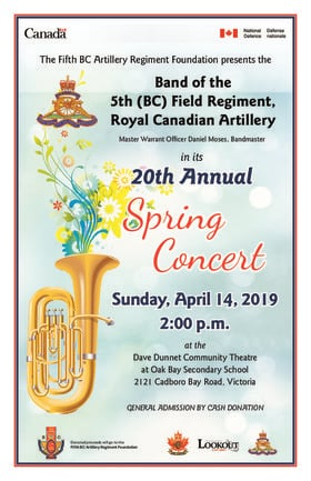 Free Military Band Concert: 5th (BC) Field Regiment, RCA Band (BC) @ Dave Dunnet Theatre Apr 14 2019 - Apr 20th @ Dave Dunnet Theatre