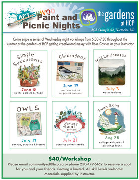 Paint and Picnic Nights: ROSE COWLES @ The Gardens at HCP Jun 5 2019 - Apr 24th @ The Gardens at HCP