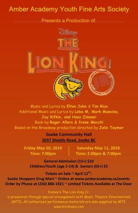 Disney's Lion King Jr.: Amber Academy Youth Fine Arts Society @ Sooke Community Hall May 11 2019 - Oct 16th @ Sooke Community Hall