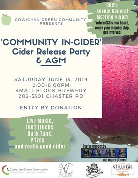 Community In-Cider' Cider Release Party & AGM: Masimba Marimba, Greg & Co, Mbira Spirit, Lip Forest @ Small Block Brewery Jun 15 2019 - Sep 15th @ Small Block Brewery