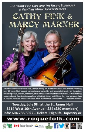 Cathy Fink & Marcy Marxer @ St. James Community Hall Jul 9 2019 - Feb 25th @ St. James Community Hall