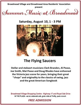 Summer Music at Broadmead: The Flying Saucers @ Broadmead Village Shopping Centre Aug 10 2019 - Apr 9th @ Broadmead Village Shopping Centre