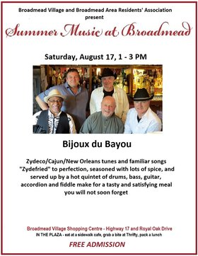 Summer Music at Broadmead: Bijoux du Bayou @ Broadmead Village Shopping Centre Aug 17 2019 - Apr 9th @ Broadmead Village Shopping Centre