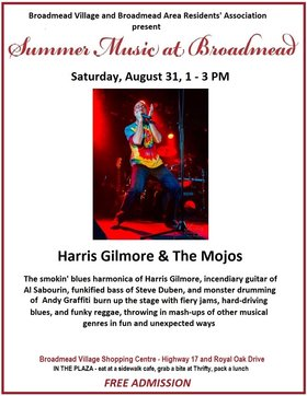 HARRIS GILMORE & THE MOJOS @ Broadmead Village Shopping Centre Aug 31 2019 - Jul 12th @ Broadmead Village Shopping Centre