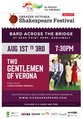 Bard Across The Bridge: Jack Hayes, Douglas Peerless, Isabella Giampaolo, Holly Collins Hadford, Christopher Weddell @ Saxe Point Park Jul 3 2019 - Oct 22nd @ Saxe Point Park