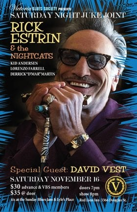 Saturday Night Juke Joint: Rick Estrin & the Nightcats, David Vest @ V-lounge Nov 16 2019 - Sep 15th @ V-lounge