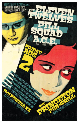 A Night of Garage Rock and Post-Punk Delights: The Eleven Twelves, Pill Squad, ACE @ Princeton Pub Aug 2 2019 - Apr 6th @ Princeton Pub