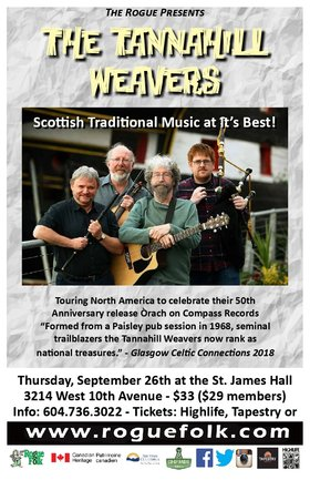 Tannahill Weavers @ St. James Community Hall Sep 26 2019 - Feb 25th @ St. James Community Hall