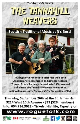 Tannahill Weavers @ St. James Community Hall Sep 26 2019 - Oct 15th @ St. James Community Hall