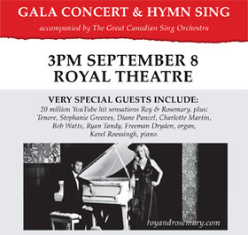 The Great Canadian Sing - Gala Concert and Big Sing: Roy & Rosemary @ Royal Theatre Sep 8 2019 - Jan 17th @ Royal Theatre