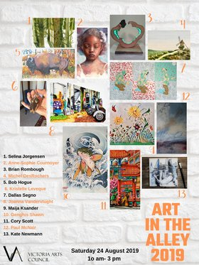 ART IN THE ALLEY 2019: Dallas Segno, Selina Jorgensen, Brian Rombough, Cory Scott, Maija Ksander, Kate Newmann, Genghis Shawn, Paul McNair, Joanna Vandervlught, Anne-Sophie Cournoyer, Michel Des Rochers, Bob Hogue, Kristelle Leveque @ Dragon Alley Aug 24 2019 - Feb 22nd @ Dragon Alley