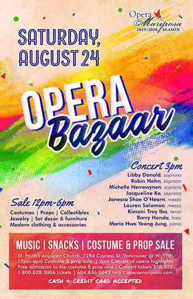 Opera Bazaar: Libby Donald (soprano), Robin Hahn (soprano), Michelle Herrewynen  (soprano), Jacqueline Ko  (soprano), Janessa Shae O'Hearn  (mezzo-soprano), Lauren Solomon  (mezzo-soprano), Kimani Troy Iba  (tenor), Barry Honda (bass), Maria Hwa Yeong Jung  (piano) @ St. Faith's Anglican Church Aug 24 2019 - Nov 23rd @ St. Faith's Anglican Church