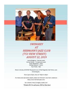 Swingkey @ Hermann's Jazz Club Aug 22 2019 - Oct 16th @ Hermann's Jazz Club