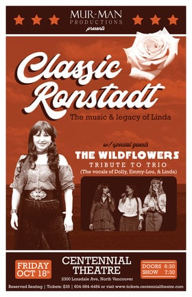Classic Ronstadt - The Legacy of Linda: Classic Ronstadt - The Legacy of Linda, The Wildflowers -Tribute to Trio @ Centennial Theatre Oct 18 2019 - Aug 22nd @ Centennial Theatre