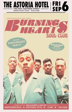 Soul Night Burning Hearts Soul Club 4 Year Anniversary ft Resident selectors Keith McCafferty & Dave Mac: Keith McCafferty , Dave Mac @ The Astoria Sep 6 2019 - Sep 22nd @ The Astoria