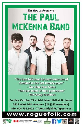 The Paul McKenna Band @ Mel Lehan Hall Oct 27 2019 - Feb 25th @ Mel Lehan Hall