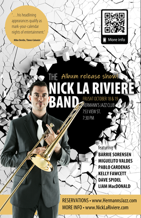 Alive and Loud Album Release Show: Nick La Riviere Band @ Hermann's Jazz Club Oct 18 2019 - Oct 28th @ Hermann's Jazz Club