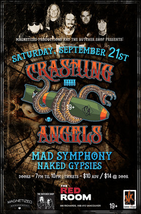 Crashing Angels w/ Mad Symphony and Naked Gypsies @ The Red Room Sep 21 2019 - Oct 22nd @ The Red Room