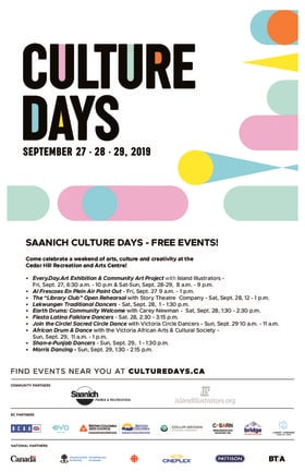 Saanich Celebrates Culture Days @ The Arts Centre at Cedar Hill  Sep 27 2019 - Mar 8th @ The Arts Centre at Cedar Hill