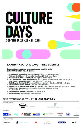 Saanich Celebrates Culture Days @ The Arts Centre at Cedar Hill  Sep 27 2019 - Jul 14th @ The Arts Centre at Cedar Hill