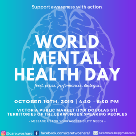 World Mental Health Day @ Victoria Public Market at the Hudson Oct 10 2019 - Oct 17th @ Victoria Public Market at the Hudson