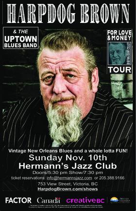 Harpdog Brown @ Hermann's Jazz Club Nov 10 2019 - Oct 25th @ Hermann's Jazz Club