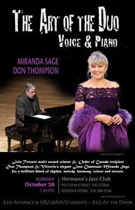 THE ART OF THE DUO - VOICE AND PIANO Miranda Sage & Don Thompson @ Hermann
