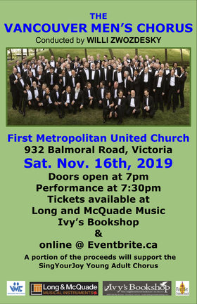 Back by Popular Demand: Vancouver Men's Chorus @ First Metropolitan United Church Nov 16 2019 - Apr 20th @ First Metropolitan United Church