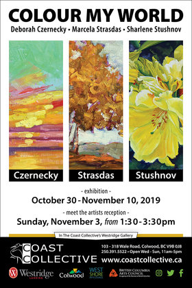 Colour My World: Deborah Czernecky, Marcela Strasdas, Sharlene Stushnov-Lee @ Coast Collective Art Society Oct 30 2019 - May 13th @ Coast Collective Art Society