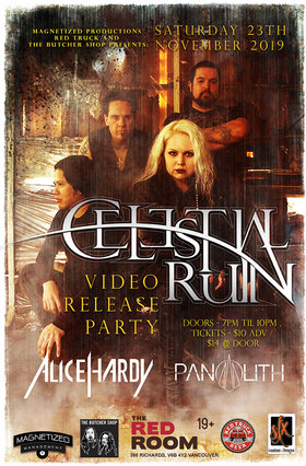Video Release Party w/: Celestial Ruin, Alice Hardy, Panolith @ The Red Room Nov 23 2019 - Jun 5th @ The Red Room