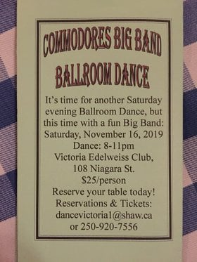 de Pfyffer's Fall Dance: Commodores Big Band, Kim Greenwood @ Victoria Edelweiss Club Nov 16 2019 - Jan 23rd @ Victoria Edelweiss Club