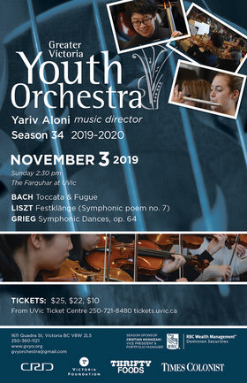 Greater Victoria Youth Orchestra Presents Bach, Liszt & Grieg: Greater Victoria Youth Orchestra , Yariv Aloni, Music Director @ The Farquhar at UVic Nov 3 2019 - Oct 14th @ The Farquhar at UVic