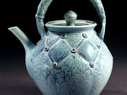 Blue Pom Teapot by  Cindy Gibson