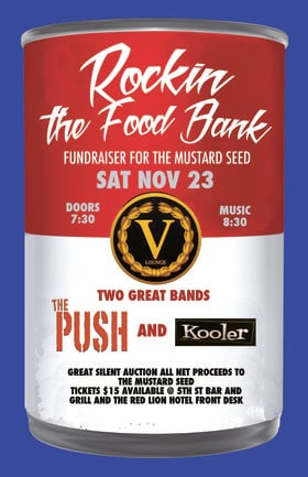 Rockin' The Food Bank: Kooler, Don Peterson & The Push Band  @ V-lounge Nov 23 2019 - Oct 19th @ V-lounge