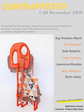 CONTRAPPOSTO: Dale Roberts, Aay Preston-Myint, Ryan Josey, Jade Yumang, Carl Stewart, Lawrence Mandes, Nico Williams, Kegan McFadden @ Victoria Arts Council Nov 1 2019 - Nov 15th @ Victoria Arts Council