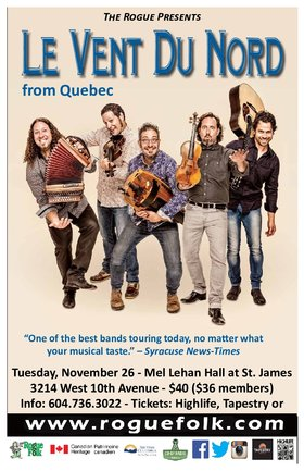 Le Vent du Nord @ Mel Lehan Hall at St. James Nov 26 2019 - Feb 25th @ Mel Lehan Hall at St. James