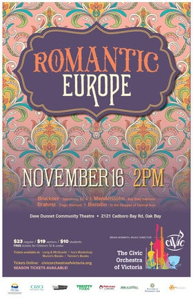 Romantic Europe: The Civic Orchestra of Victoria @ Dave Dunnet Theatre Nov 16 2019 - Nov 11th @ Dave Dunnet Theatre