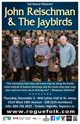 John Reischman, The Jaybirds @ Mel Lehan Hall at St. James Dec 5 2019 - Feb 25th @ Mel Lehan Hall at St. James