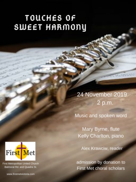 Touches of Sweet Harmony: Mary Byrne, Kelly Charlton , Alec Kracwic @ First Metropolitan United Church Nov 24 2019 - Apr 20th @ First Metropolitan United Church