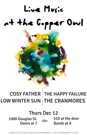 Four Live Victoria Bands!: Cosy Father, Low Winter Sun, Happy Failure, The Cranmores @ Copper Owl Dec 12 2019 - Oct 24th @ Copper Owl
