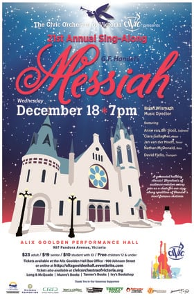 Sing-Along Messiah: The Civic Orchestra of Victoria @ Alix Goolden Performance Hall Dec 18 2019 - Nov 22nd @ Alix Goolden Performance Hall