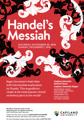 Handel's Messiah: Capilano University Choirs @ BlueShore Financial Centre for the Performing Arts at Capilano U Nov 30 2019 - Nov 24th @ BlueShore Financial Centre for the Performing Arts at Capilano U