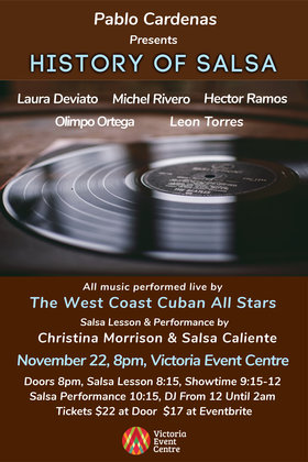 "Latin Explosion Presents ""History of Salsa"": Pablo Cardenas, The West Coast Cuban All Stars @ Victoria Event Centre Nov 22 2019 - Jan 15th @ Victoria Event Centre"