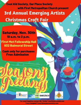 3rd Annual Emerging Artists Christmas Craft Fair @ First Metropolitan United Church Nov 30 2019 - Apr 20th @ First Metropolitan United Church