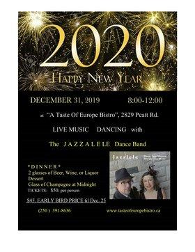 NEW YEARS EVE 2019 - Exquisite World Class Vocals!: Anna Acevedo Lyman, Steve Sutton, Jazzalele @ A Taste of Europe Restaurant Dec 31 2019 - Oct 16th @ A Taste of Europe Restaurant