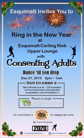Rock in the New Year: Consenting Adults @ Eqsuimalt Curling Rink Upper Lounge Dec 31 2019 - Oct 17th @ Eqsuimalt Curling Rink Upper Lounge
