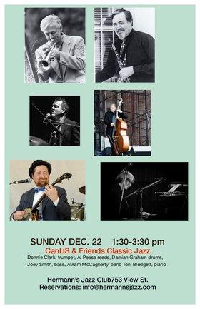 Dixieland Matinee with CanUS & Friends: Special Guest: Donnie Clark @ Hermann's Jazz Club Dec 22 2019 - Oct 25th @ Hermann's Jazz Club